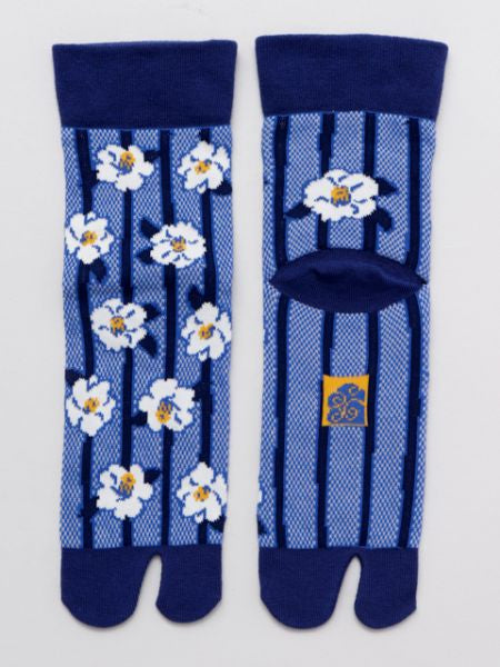 KANOKO Moss Stitch Socks 23-25cm Stripe x Flower
