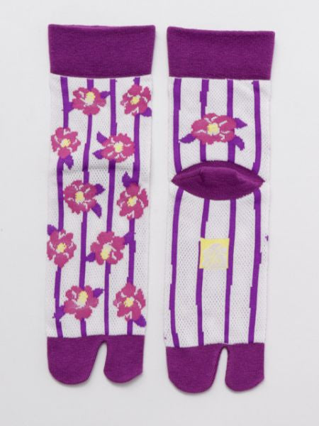 KANOKO Moss Stitch Socks 23-25cm Stripe x Flower-Socks-Ametsuchi