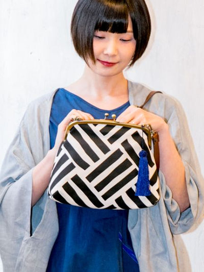 AJIRO Wickerwork Pattern GAMAGUCHI Clutch Shoulder Bag-Ametsuchi