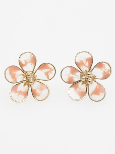 Gradient Color Flower Stud Earrings