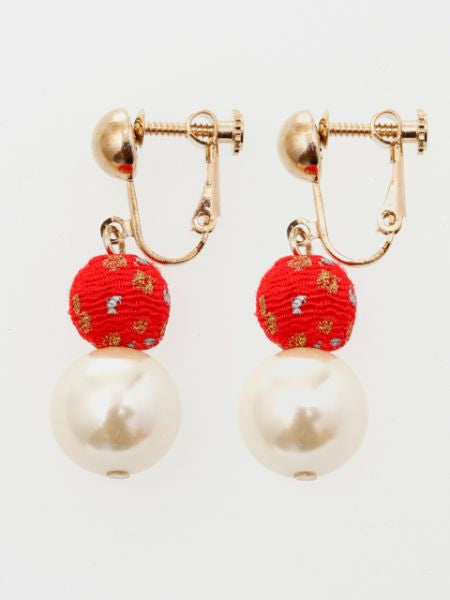 SHIBORI CHIRIMEN Ball Clip Earrings