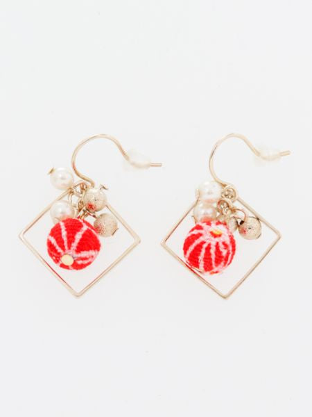 ASANOHA CHIRIMEN Ball Earrings