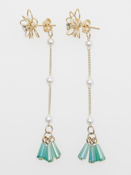 Wire Flower Tassel Stud Earrings