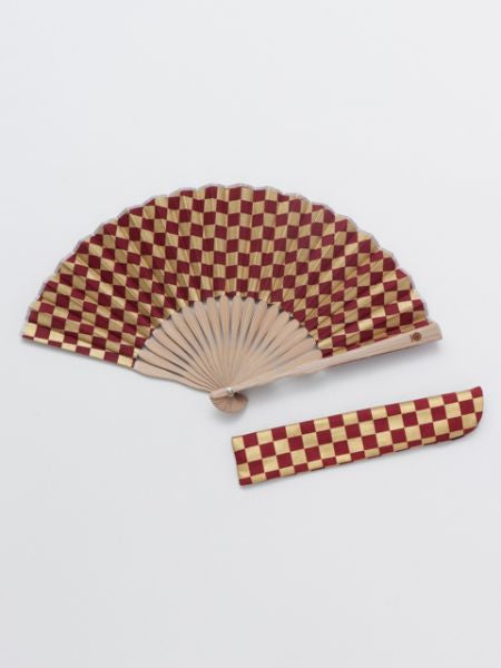 ICHIMATSU Pattern Foldable Fan with Pouch-Ametsuchi