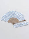 SHIPPOU Pattern Foldable SENSU Fan with Pouch-Ametsuchi