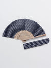 SASHIKO YAGASURI Pattern Foldable SENSU Fan with Pouch-Ametsuchi