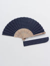 SASHIKO ARARE Pattern Foldable SENSU Fan with Pouch-Ametsuchi