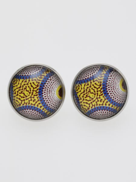African Fabric Pattern Stud Earrings-Ametsuchi