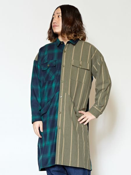 Plaid x Stripe Patchwork Nomad Long Shirt-Ametsuchi