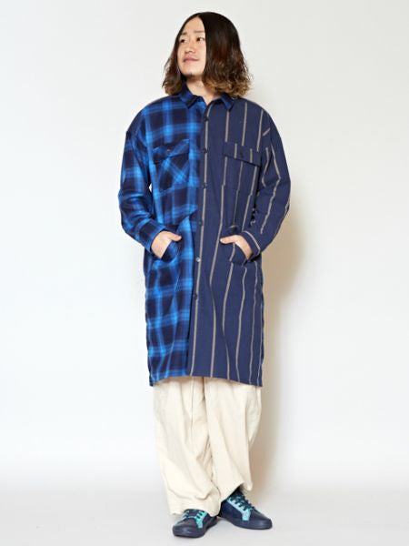 Plaid x Streifen Patchwork Nomad Long Shirt