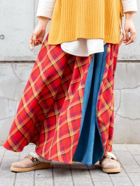Skirt Patchwork Flannel x Corduroy
