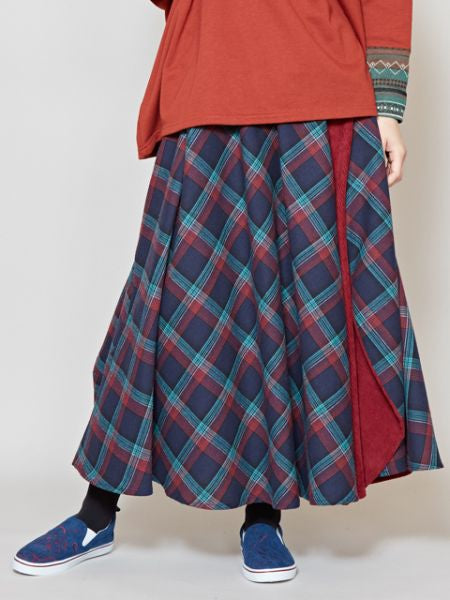 Flanell x Cord Patchwork Rock -Skirts-Ametsuchi