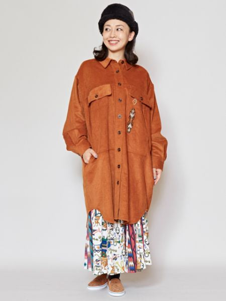 Navajo Embroidery Corduroy Shirt Dress
