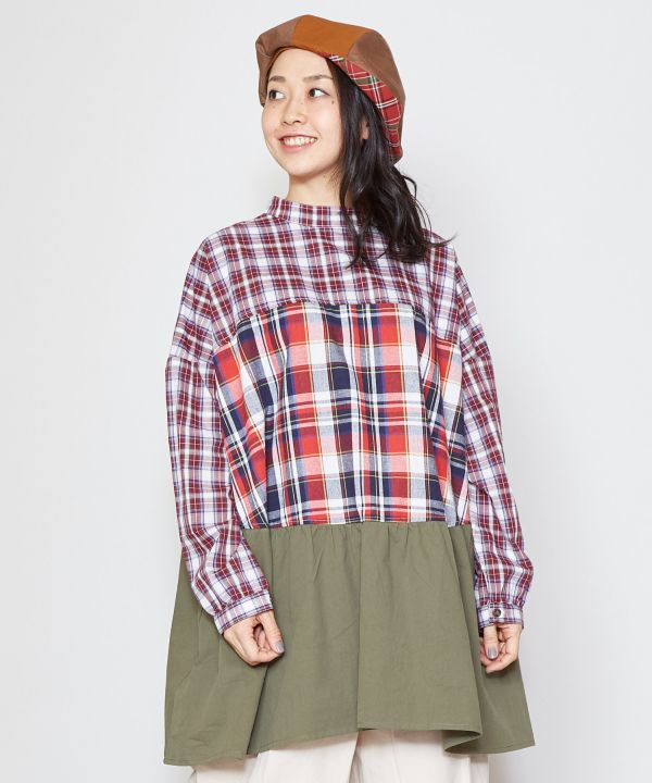 Plaid Patchwork Blouse