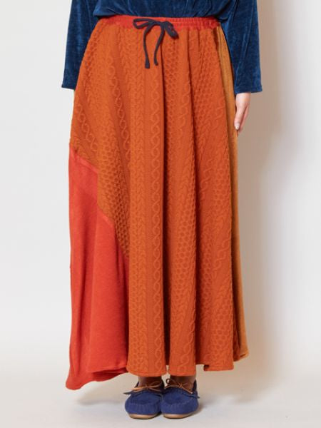 Velor Patchwork Maxi Skirt