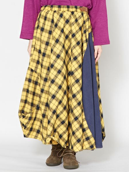 Plaid Asymmetrical Hem Maxi Skirt