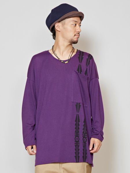 GEOM Pattern Men 's Long Sleeve Tee-Ametsuchi