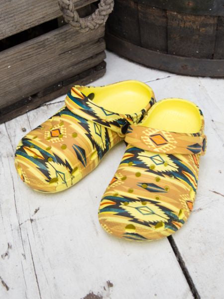 Navajo Pattern Kids Clogs-YELLOW-Ametsuchi