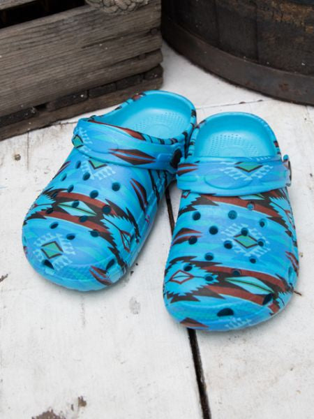 Navajo Pattern Kids Clogs-BLUE-Ametsuchi