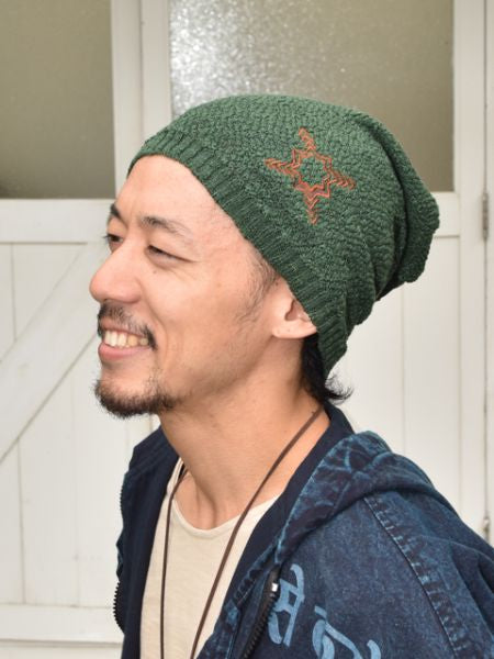 HMONG Tribe Motif Style Embroidered Beanie-Caps & Hats-Ametsuchi