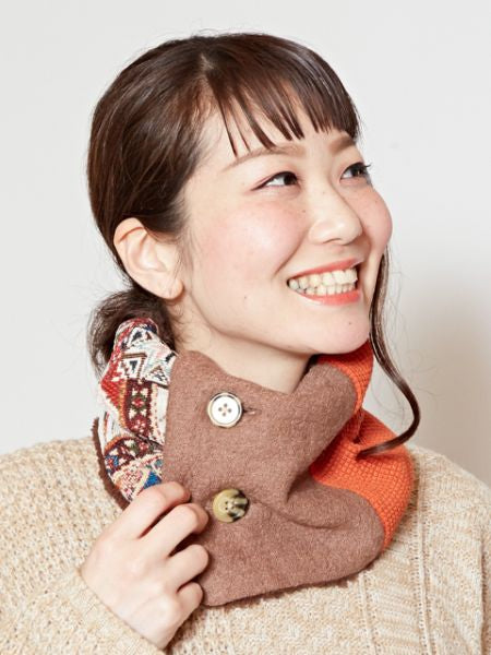 Kilim Pattern Boa Neck Warmer -Scarves-Ametsuchi