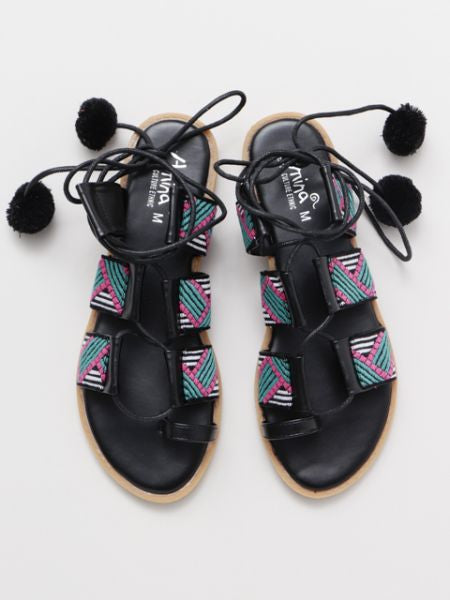 Pompom Lace up Sandal-Ametsuchi