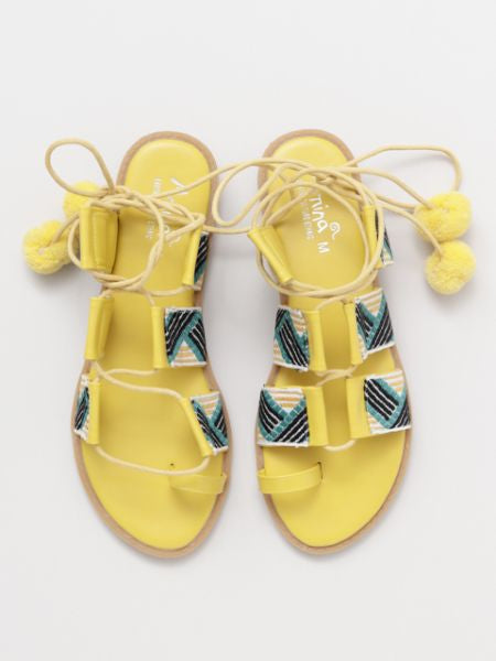Pompom Lace up Sandals-Ametsuchi