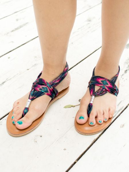Ethnic Pattern Thong Slippers-Ametsuchi