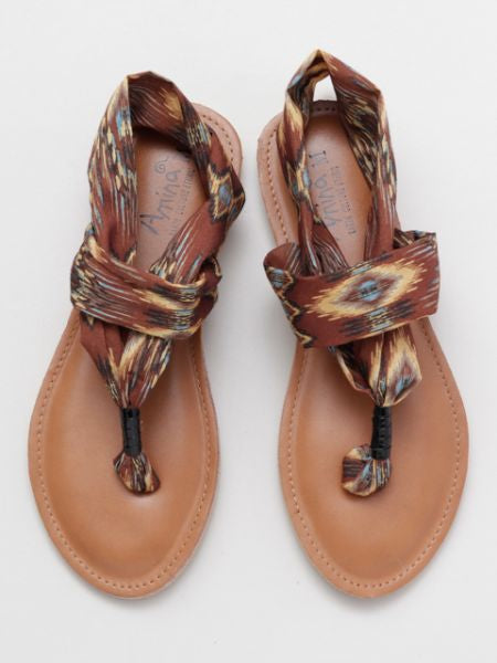 Ethnic Pattern Thong Slippers
