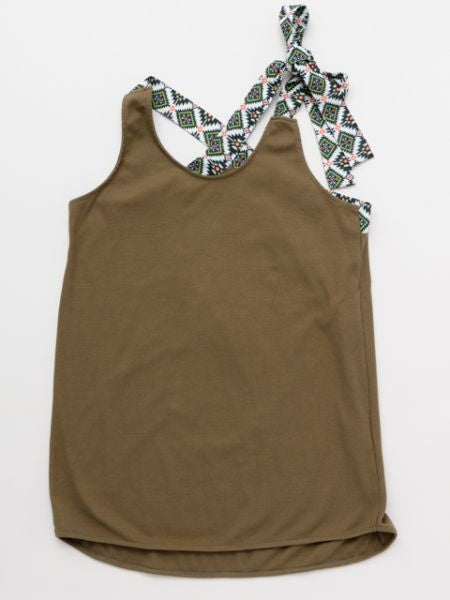 Ribbon Shoulder Tank Top