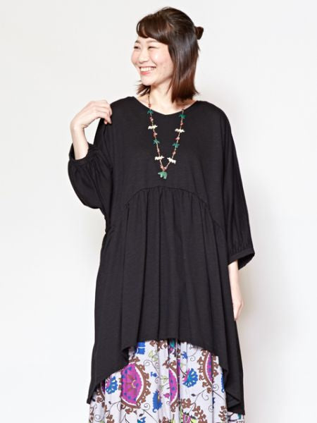 Plain Slub Cotton Tunic-Ametsuchi