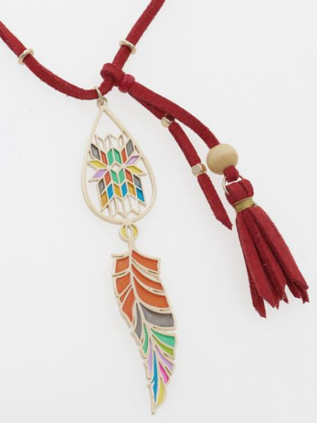 Stained Glass Style Tassel Necklace