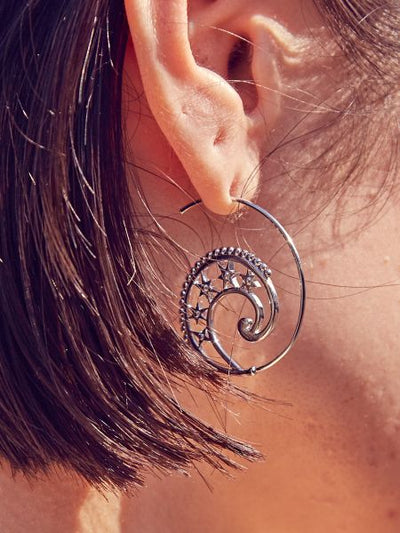 Crescent & Star Curve Earrings-Ametsuchi