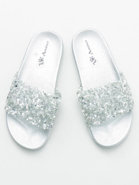 Open Toe Glitter Sliders-Ametsuchi