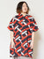 Geometric Print Men's Oversized Shirt