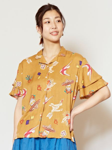 Mexican Motif Frill Sleeve Shirt