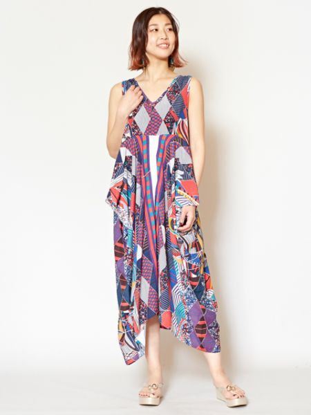 Egyptian Inspired Pattern Sleeveless Dress -Dresses-Ametsuchi