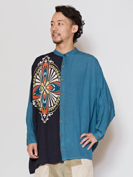 Colorblock Collarless Oversized Shirt-Ametsuchi