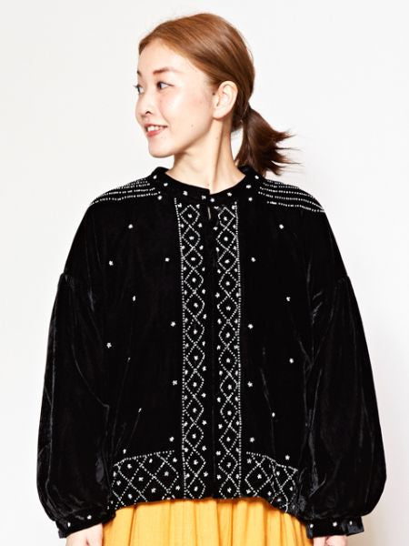 Beaded Embroidery Velour Jacket-Ametsuchi