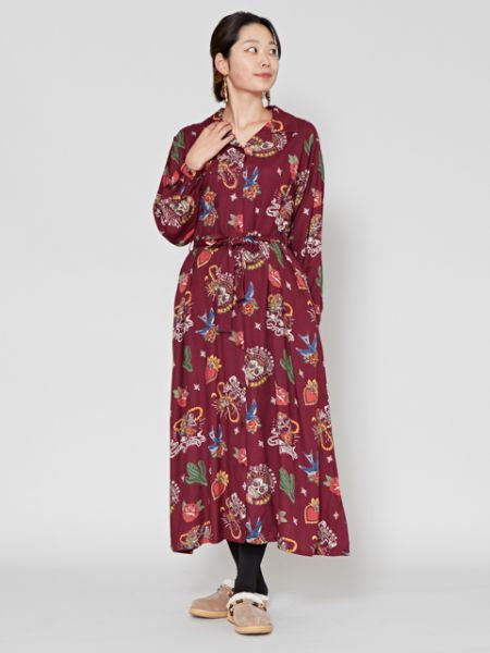 Mexican Motif Print Shirt Dress