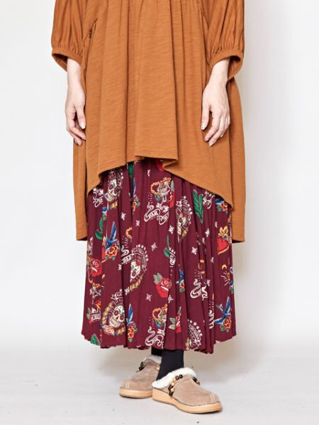 Mexican Motif Long Skirt -Skirts-Ametsuchi