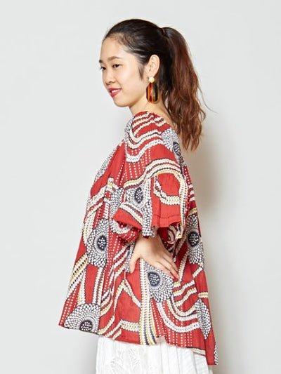 African Pattern Volume Sleeve Blouse-Ametsuchi