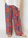 Retro Patchwork Print Wide Leg Pants-Pants & Shorts-Ametsuchi