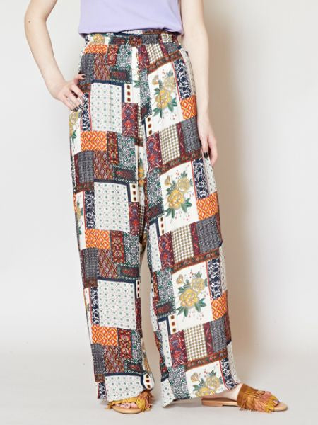 Retro Patchwork Print Wide Leg Pants