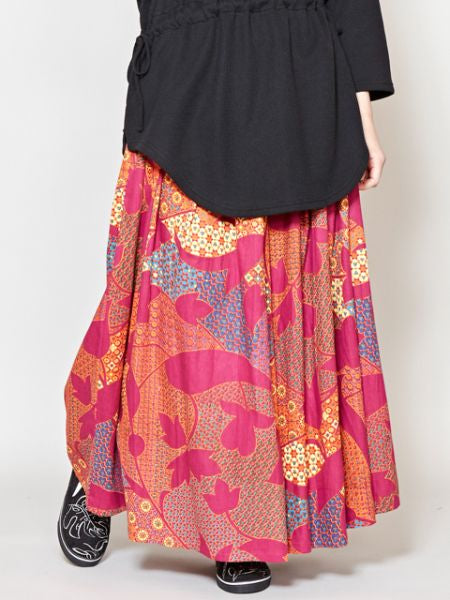 Retro Pattern Wide Leg Pants