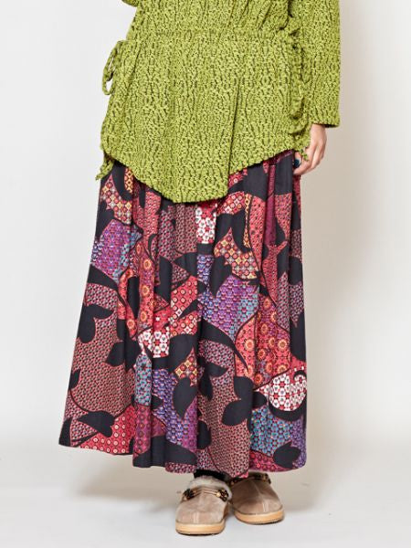 Retro Pattern Wide Leg Pants-Pants & Shorts-Ametsuchi