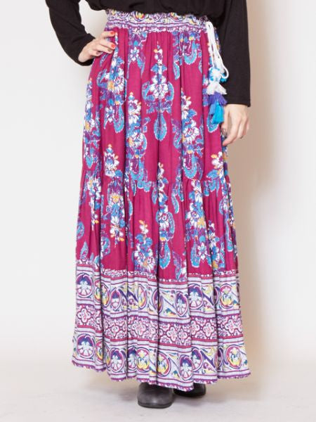 Vintage Style Print Maxi Skirt-Skirts-Ametsuchi