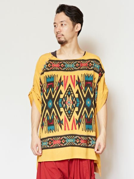 Navajo Pattern Print & Embroidery Top-Ametsuchi