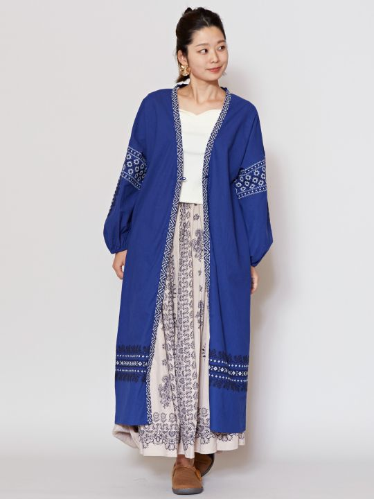 Embroidered Balloon Sleeve Cardigan-Ametsuchi