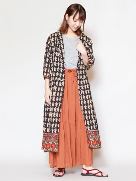 Hand Block Print Crossover Dress Cardigan